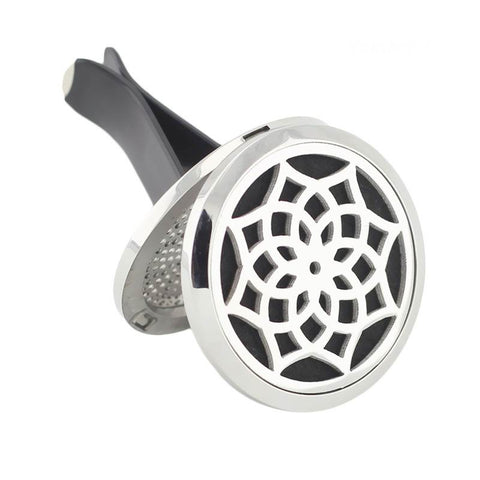 Blossom Design Aromatherapy Essential Oil Car Diffuser - Silver 38mm - Mother's Day Gift Idea