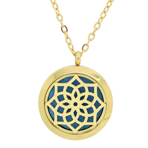 Blossom Aromatherapy Essential Oil Diffuser Necklace - 14k Gold Plate - Free Chain - Gift Idea
