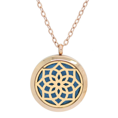 Blossom Aromatherapy Essential Oil Diffuser Necklace - 14k Rose Gold Plate - Free Chain