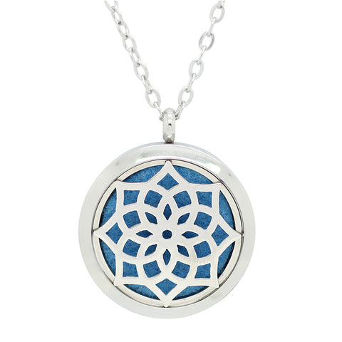 Blossom Diffuser Necklace Silver - Free Chain