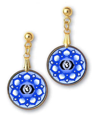 Brow Third Eye Chakra Sanskrit Mandala Earrings - handcrafted - each piece unique