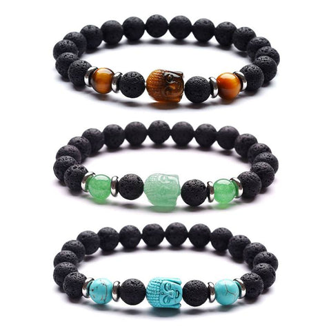 Buddha Gemstone and Lava Healing Aromatherapy Essential Oil Diffuser Bracelet - Valentine's Day Gift Idea