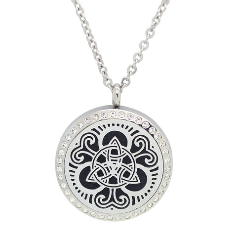 Celtic Trinity Knot Design Aromatherapy Essential Oil Diffuser Necklace with Crystals - 30mm Silver - Free Chain -Mother's Day Gift Idea