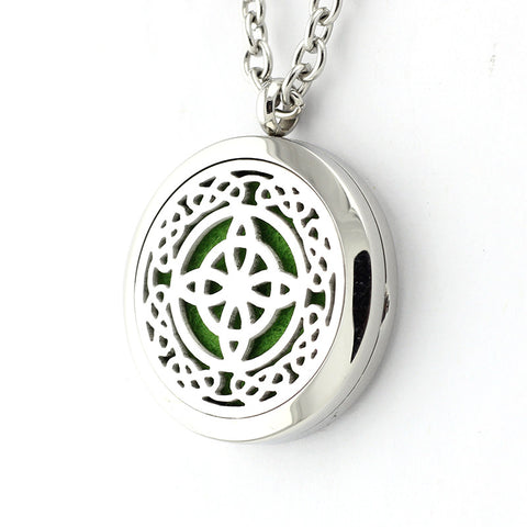 Celtic Cross Design Aromatherapy Essential Oil Diffuser Necklace- 30mm Silver - Free Chain - Mother's Day Gift Idea