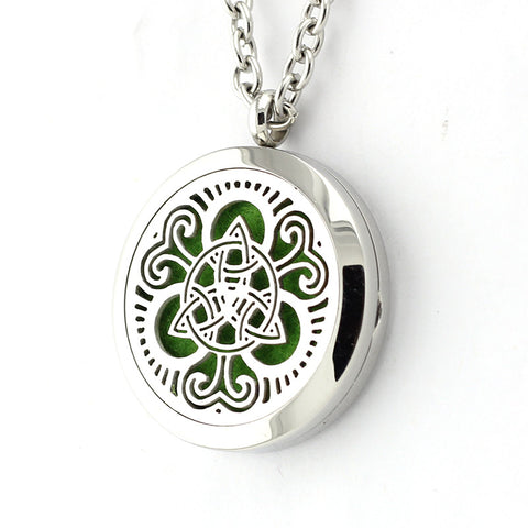 Celtic Trinity Knot Design Aromatherapy Essential Oil Diffuser Necklace - 25mm Silver - Free Chain - Mother's Day Gift Idea