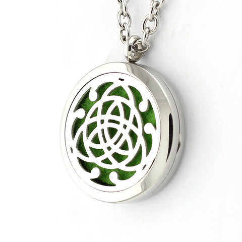 Celtic Triquerta Design Aromatherapy Essential Oil Diffuser Necklace - 30mm Silver - Free Chain - Mother's Day Gift Idea