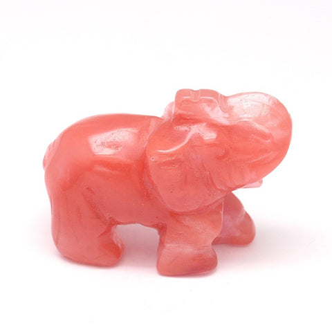 Cherry Quartz Elephant Carving Medium 60mm - Anxiety Relief and Uplifting - Crystal Healing