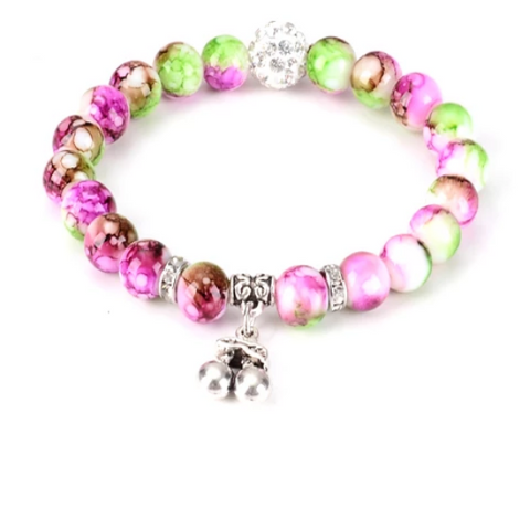 Cherry Healing Gemstone Yoga Bracelet - with Swarovski Elements Crystals - Gift Idea