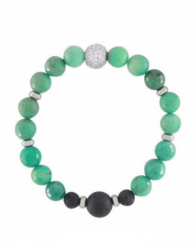 Chrysoprase Crystal, Gemstone and Lava Stone Aromatherapy Essential Oil Diffuser Bracelet - Gift idea