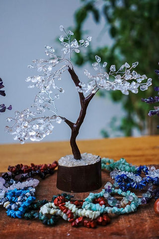 Clear Crystal Quartz Gemstone Tree - Medium 22cm - Brown Base - Crystal Healing