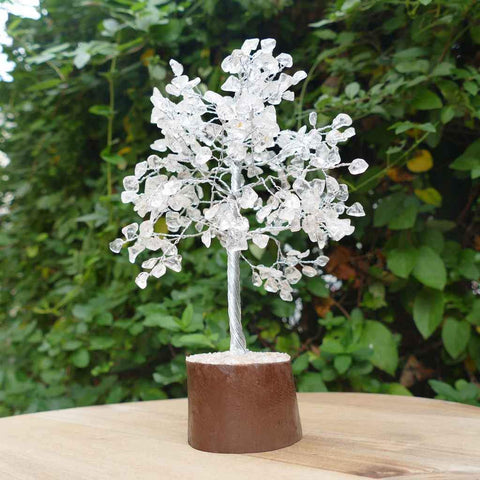 Clear Crystal Quartz Gemstone Tree - Medium 22cm - Silver with Brown Base - Crystal Healing