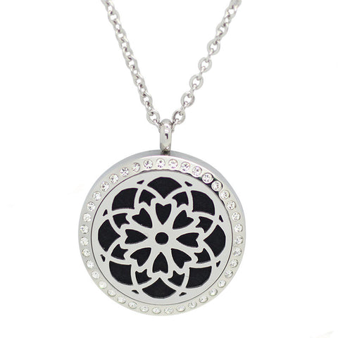 Cosmic Flower Diffuser Necklace Silver with Crystals - Free Chain