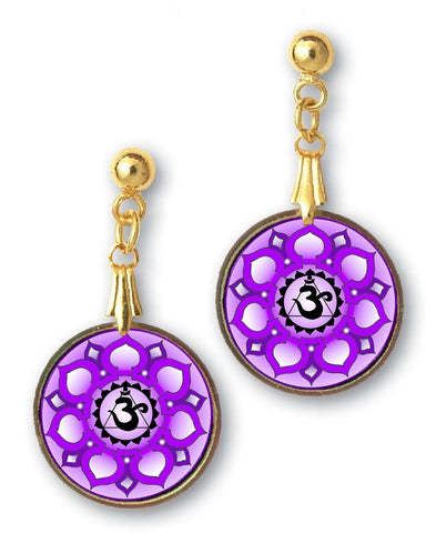 Crown Chakra Sanskrit Mandala Earrings - Handcrafted - each piece unique