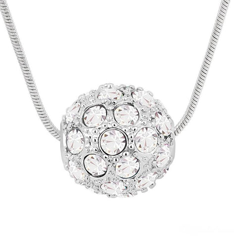 Swarovski Crystal Elements - Shamballa Ball Necklace - 5 Colours - White Gold Plate - Valentine's Day Gift Idea