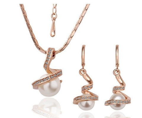 Swarovski Crystal Elements - Pearl and Crystal - Necklace and Earrings Set Rose Gold Plate - Valentine's Gift Idea