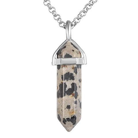 Dalmation-Jasper-Double-Point-Necklace-FREE-Stainless Steel Chain