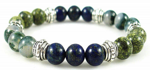 Crystal Gemstone Bracelet - Handcrafted - Natural Chrysocolla, Moss Agate, and Serpentine 8mm