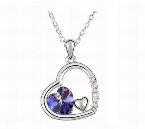 Swarovski Crystal Elements - Double Heart Design Necklace - Platinum Plate - Amethyst - Valentine's Day Gift Idea