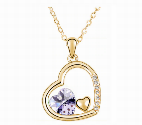 Swarovski Crystal Elements - Double Heart Design Necklace - Gold Plate - Violet - Valentine's Day Gift Idea