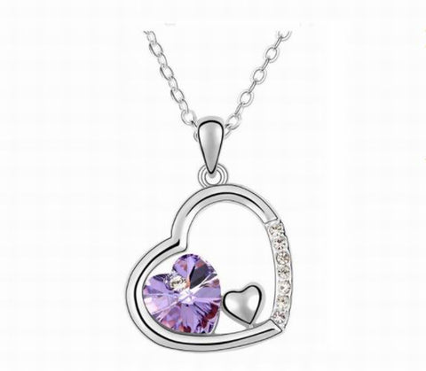 Swarovski Crystal Elements - Double Heart Design Necklace - Platinum Plate - Violet - Valentine's Day Gift Idea