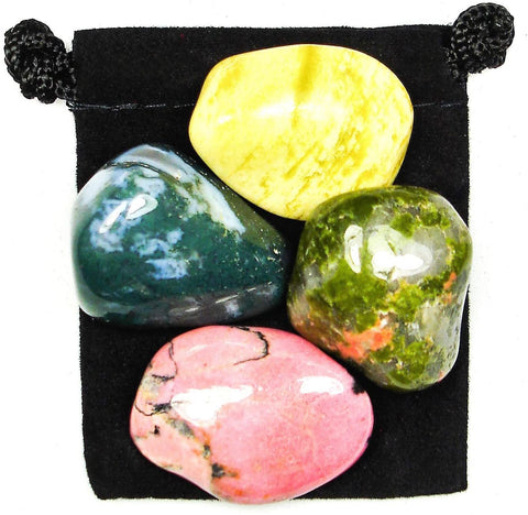 Emotional Balance Tumbled Stone Crystal Healing Set with Velvet Pouch - Moss Agate, Rhodonite, Serpentine and Unakite