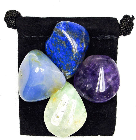 Ending Bad Dreams - Nightmares Tumbled Stone Crystal Healing Set with Velvet Pouch -Amethyst, Blue Chalcedony, Lapis Lazuli and Prehnite