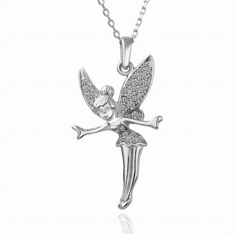 Swarovski Crystal Elements - Little Fairy Girls Necklace - White Gold Plate - Christmas Gift Idea