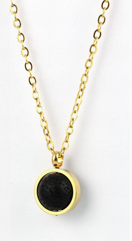 Lava Aromatherapy Essential Oil  Diffuser Necklace - Gold Tone - 12mm Lava Stone included