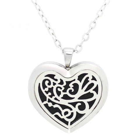 Filigree Butterfly Floral Heart Design Aromatherapy Essential Oil Diffuser Necklace Silver - Free Chain - Christmas Gift