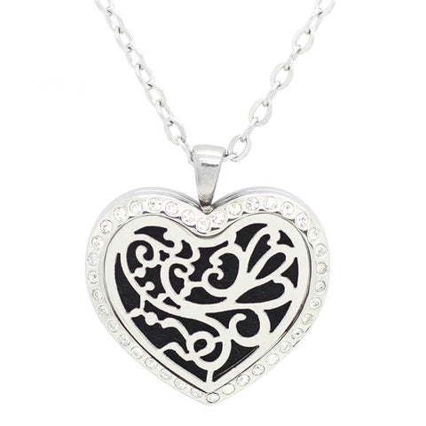 Floral Heart Diffuser Necklace Silver with Crystals - Free Chain
