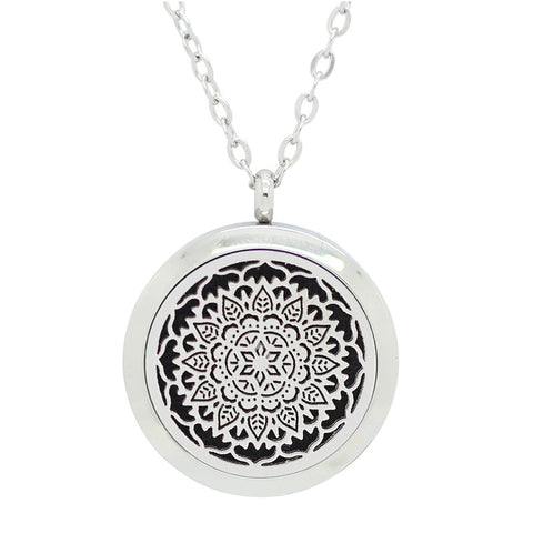 Lotus Flower Mandala Design Aromatherapy Essential Oil Diffuser Necklace - Silver 30mm - Free Chain - Christmas Gift