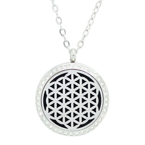 Flower of Life Diffuser Necklace Silver with Crystals - Free Chain