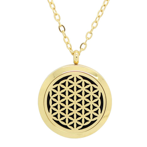 Flower of Life Aromatherapy Essential Oil Diffuser Necklace - 14k Gold Plate 25mm - Free Chain - Gift Idea
