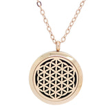 Flower of Life Aromatherapy Essential Oil Diffuser Necklace - 14k Rose Gold Plate 30mm - Free Chain - Gift Idea