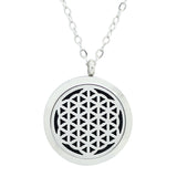 Flower of Life Diffuser Necklace Silver - Free Chain