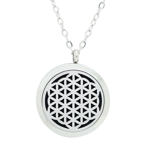 Flower of Life Aromatherapy Essential Oil Diffuser Necklace Silver - Free Chain - Valentine's Day Gift