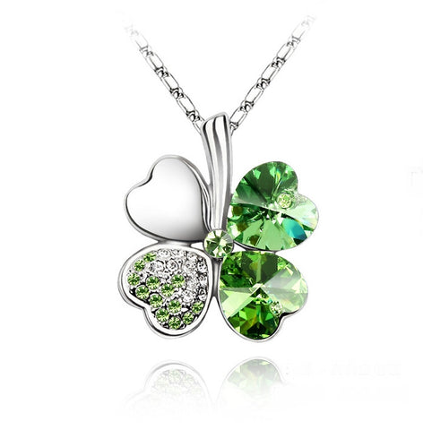 Swarovski Crystal Elements - FOUR Leaf Clover Necklace - Shamrock - White Gold Plate - Gift Idea