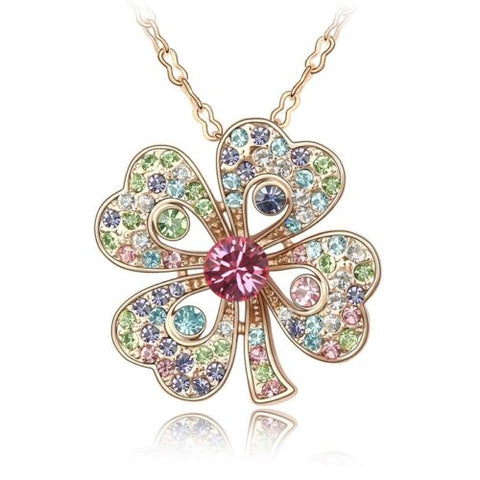 Four Leaf Clover Necklace - Shamrock - made with Swarovski Crystal Elements - St Patrick's Day 2021 - Gift Idea