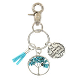 Gemstone Crystal Tree of Life Affirmation Phrase Key Chain - Gift Idea