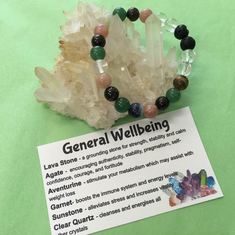 General Wellbeing and Healing Crystal Gemstone and Lava Beads Bracelet - Aromatherapy Diffuser - Handcrafted