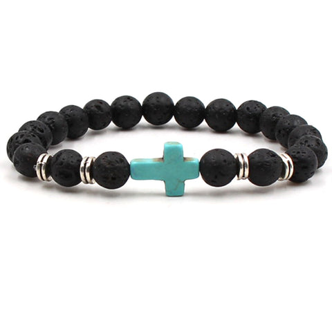 Mens Blue Howlite Cross and Lava Stone Aromatherapy Diffuser Bracelet - Calming, Knowledge, Concentration and Clarity