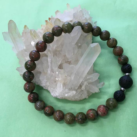 Mens Unakite and Lava Stone Aroma Diffuser Bracelet - love, compassion and kindness - Valentine's Day Gift