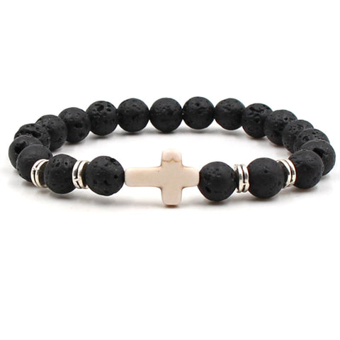 Mens Howlite Cross and Lava Stone Aromatherapy Diffuser Bracelet - Calming, Knowledge, Concentration and Clarity