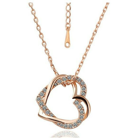 Swarovski Crystal Elements - Two Hearts Entwined Necklace - Rose Gold Plate - Christmas Gift Idea