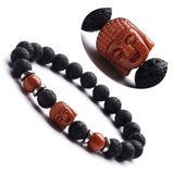 Buddha Crystal, Gemstone and Lava Aromatherapy Essential Oil Diffuser Bracelet - Gift Idea