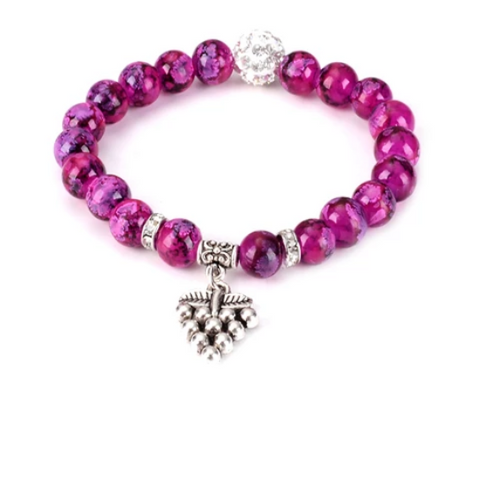 Grape Gemstone Yoga Bracelet - with Swarovski Element Crystals - Gift Idea