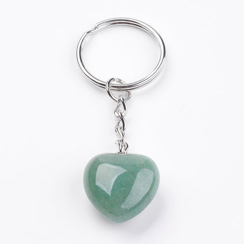 Green Aventurine Crystal Gemstone Key Chain - Comfort, Luck, Healing and Love - Crystal Healing
