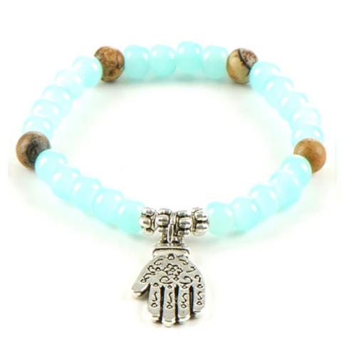 Hamsa Healing Gemstone Yoga Bracelet - Picture Jasper and Pale Blue Agate - Gift Idea