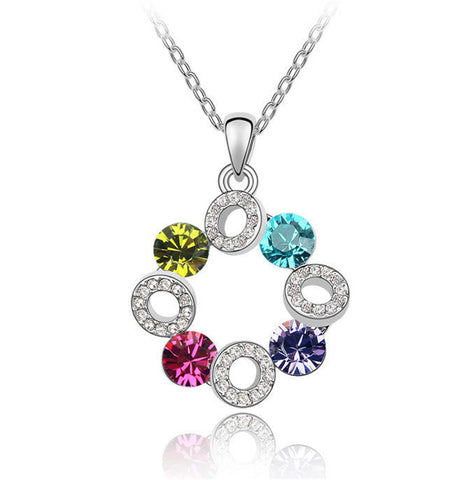 Swarovski Crystal Elements Necklace - Happiness Sky Wheel- 18k White Gold Plate - Valentine's Day Gift Idea