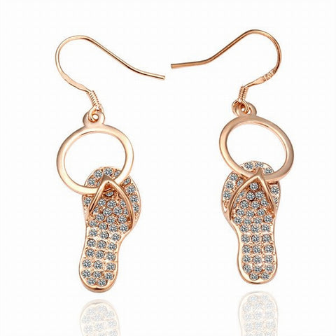 Swarovski Crystal Elements - Havaiana, Thongs or Flip Flop Design Earrings Rose Gold - Gift Idea